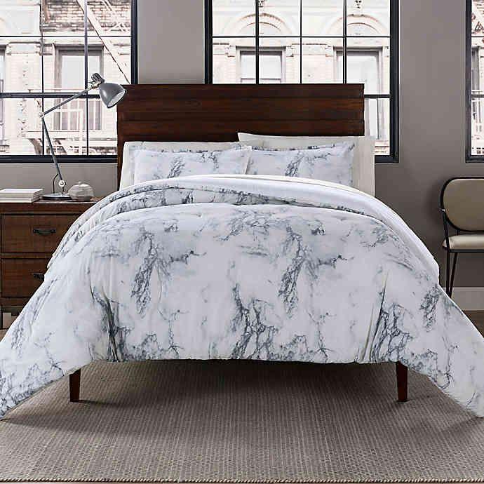 Garment Washed Printed Reversible Full Queen Comforter Set