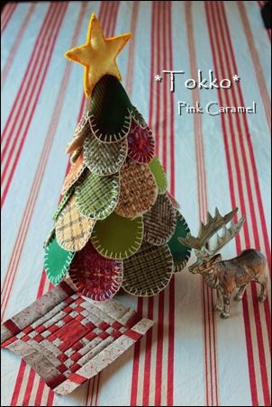 Wool Pennies Christmas Tree - Patchwork *Pink Caramel*.  No instructions and non-English website, but so many really cool ideas!!!