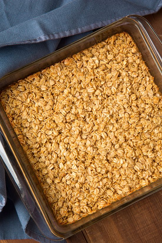 Amish Baked Oatmeal - Cooking Classy. Cut sugar in half, only 1/2 c. Milk (subbed water)