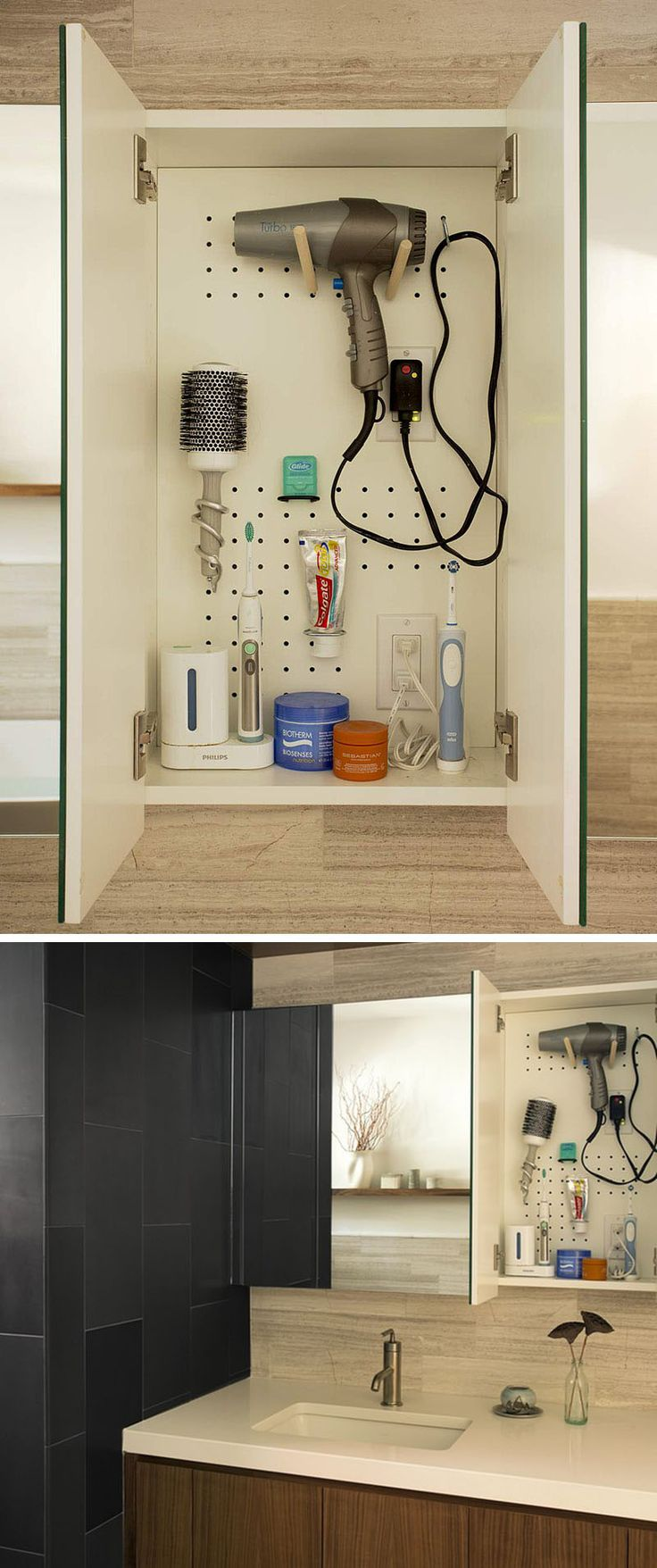 Diy hot hair tool storage remodelaholic com haircarestorage - 7 Bathroom Storage Ideas For Hair Tools Pegboard Cabinetry Installing A