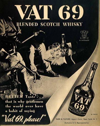 1936 Ad Park Tilford VAT 69 Scotch Whisky Equestrians Original Advertising | eBay