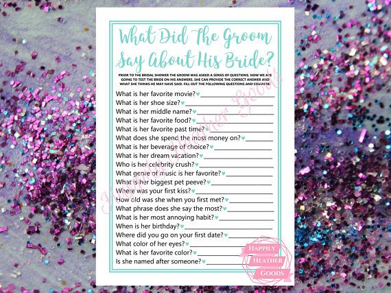 TITLE: what did the groom say about his bride DESCRIPTION: printable game for a bridal shower in robin egg blue with a cursive font; one game per page; this template is also perfect for teal bridal shower games and turquoise bridal shower games  Your download will contain the