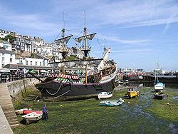Golden Hind - Wikipedia, the free encyclopedia the second Golden Hind replica at Brixham, at low tide.