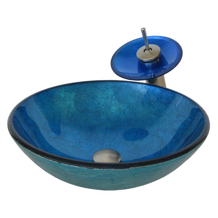 Novatto Verdazzurro Glass Vessel Bathroom Sink Set, Brushed Nickel (Blue Foil, Brushed Nickel Faucet, Drain)