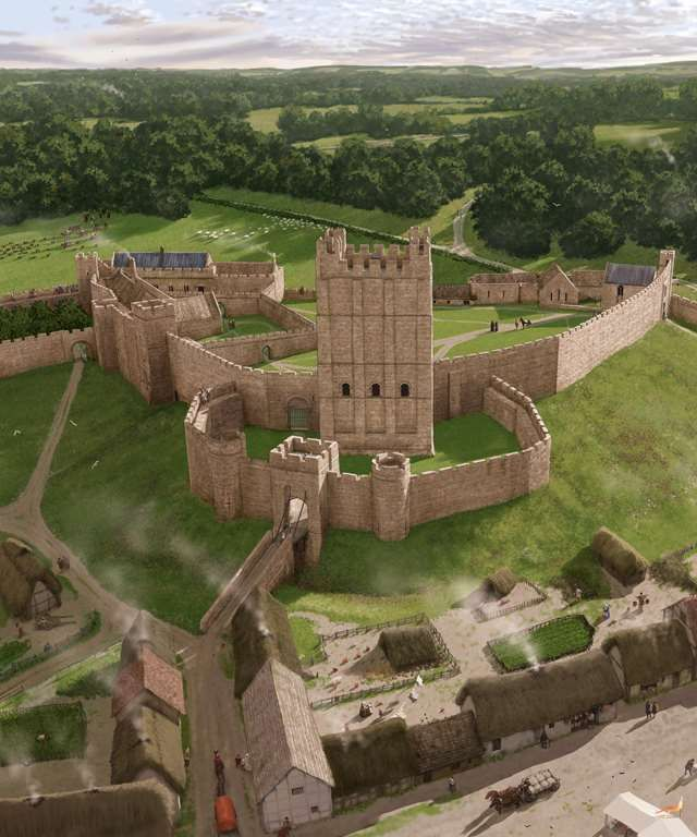 Richmond Castle in about 1400 with Conan's 12th Century keep in the foreground by Peter Urmston