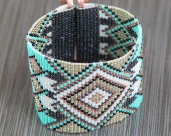 Native Autumn Trees Bead Loom Bracelet Bohemian Boho Artisanal Jewelry Indian…