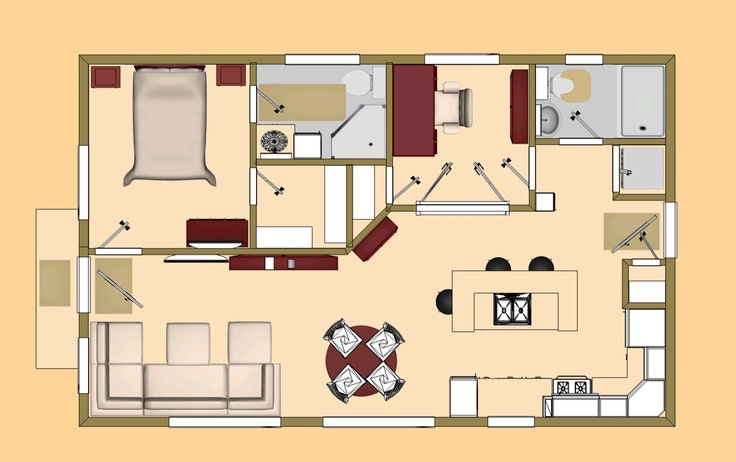 The 640 Sq Ft Oasis Small House Floor Plan Cozys 600