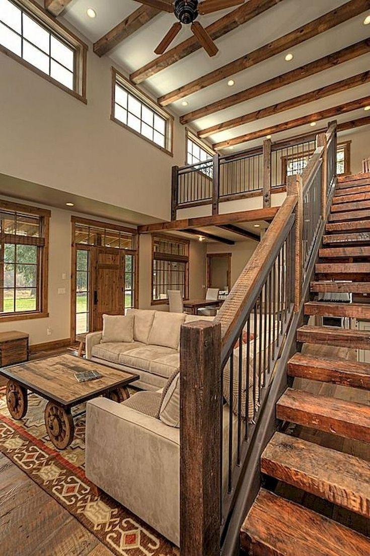 80 Modern Farmhouse Staircase Decor Ideas staircases