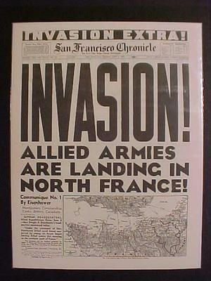 Vintage Newspaper Headline World War 2 Allies Nazi France D Day Invasion WWII | eBay