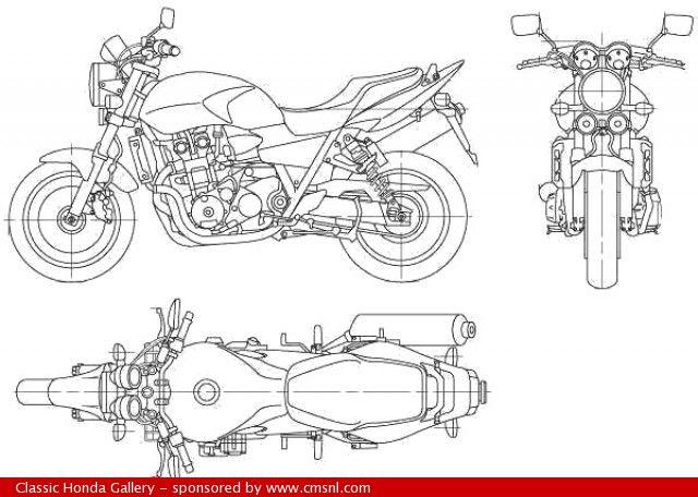 Honda CB400 Super Four - technical drawing (plan)