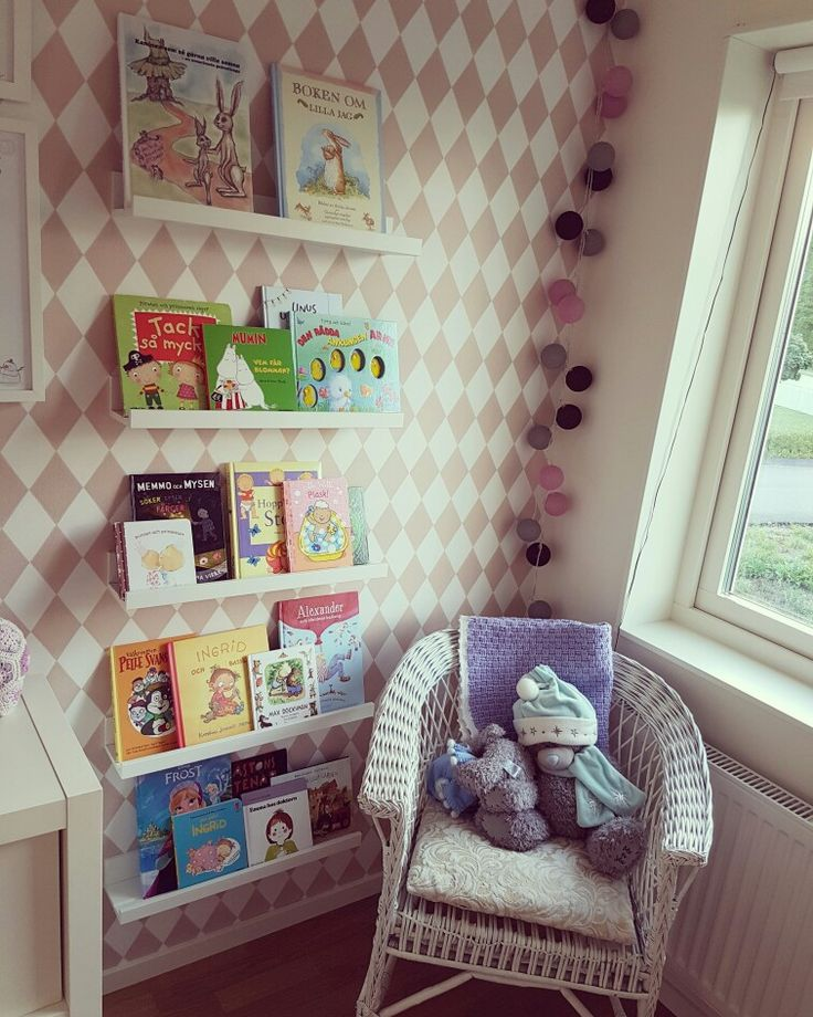 Barnrum, flickrum, girls room, kids room, Ikea, ferm living, Pink, books