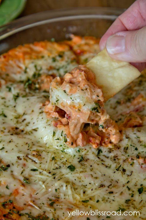 Baked Three Cheese Bruschetta Pizza Dip. Cream cheese, mozzarella, & parmesan:) Bring on the crostini. Delicious.