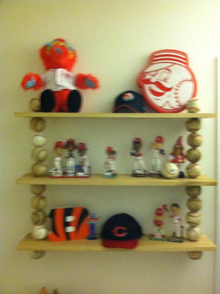 Baseball shelf I made for my son's room.