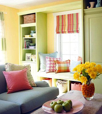 4 Ideas to Liven Up Furniture and Decor: Interior, Beautiful Colors, Kitchen Window, Bright Room, Playroom Colors, Colorful Living Rooms, Family Room, Window Seats, Bright Colors