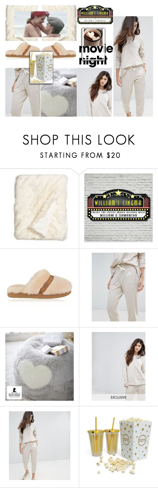 """Bring the Popcorn: Movie Night"" by beleev ❤ liked on Polyvore featuring Nordstrom, UGG, NIKE, PBteen and movieNight"