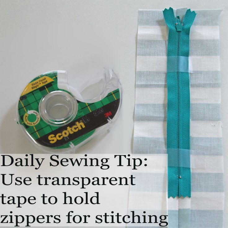 Use transparent tape to hold zippers for stitching. #sewing #sewingtip #dailysewingtip