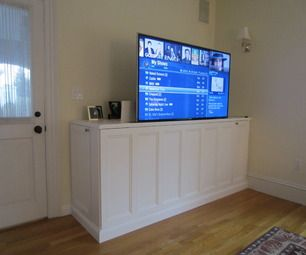 How to Make a TV Lift cabinet -  http://www.instructables.com/id/How-to-Make-a-TV-Lift-cabinet/