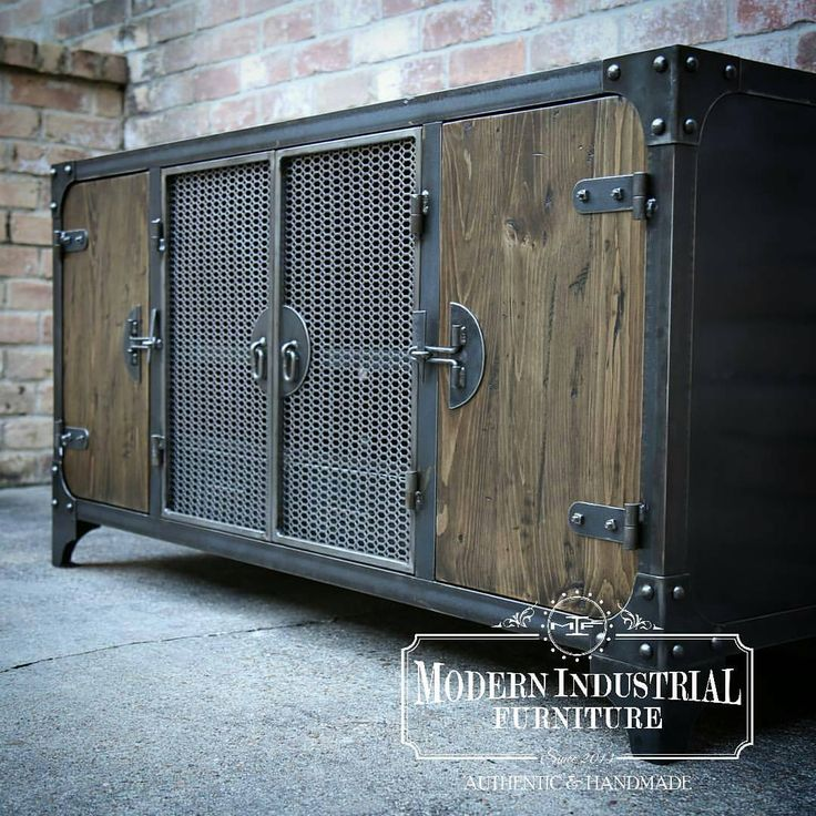 "288 Likes, 8 Comments - Modern Industrial Furniture (@modernindustrialfurniture) on Instagram: ""Carnegie media console, all handmade in the USA.  #madeinusa #modernindustrialfurniture"""