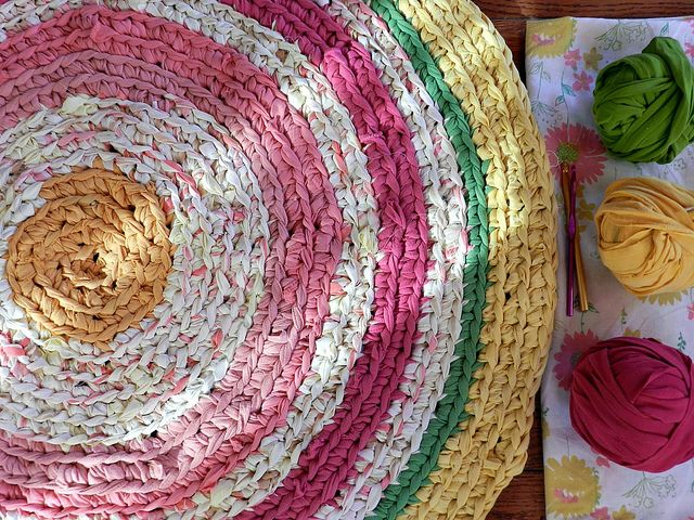 Rag rug w/ fabric scraps,sheets and T-shirts :) Great colors!!