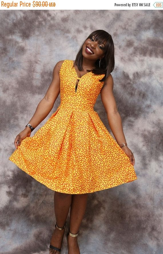 African print circle dress knee length african by HouseOfIzzi