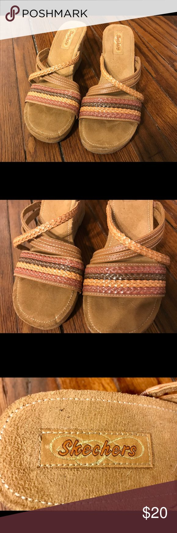"""Skechers Wedge Sandals- Never Worn! Size 10 3"""" Cork Wedge Heel * Very Comfy footbed * These have never been worn outside. They were a gift and I've tried them in several times because they are so cute but I rarely wear heals because of my height. Skechers Shoes Wedges"""