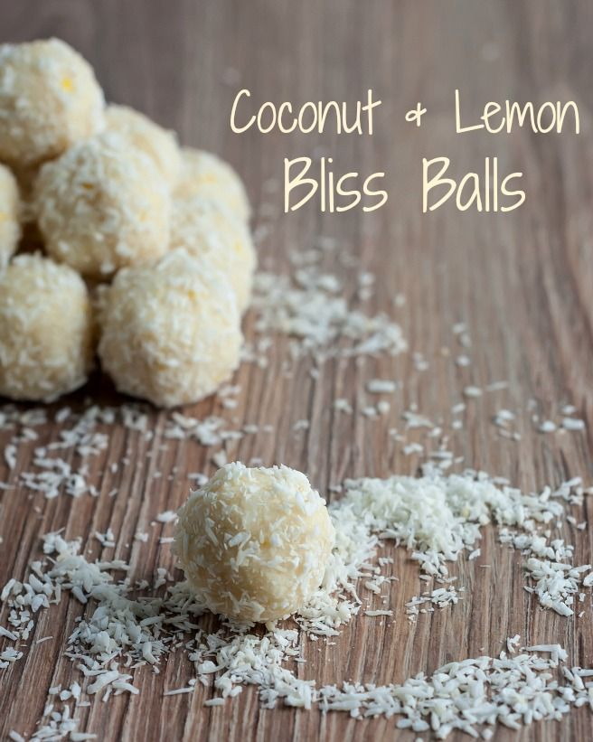 Coconut & Lemon Bliss Balls These tangy bliss balls have just enough sweetness to satisfy your sweet tooth cravings. They are refined sugar free and have a higher protein content thanks to the additional whey protein powder making them an idea little healthy snack.