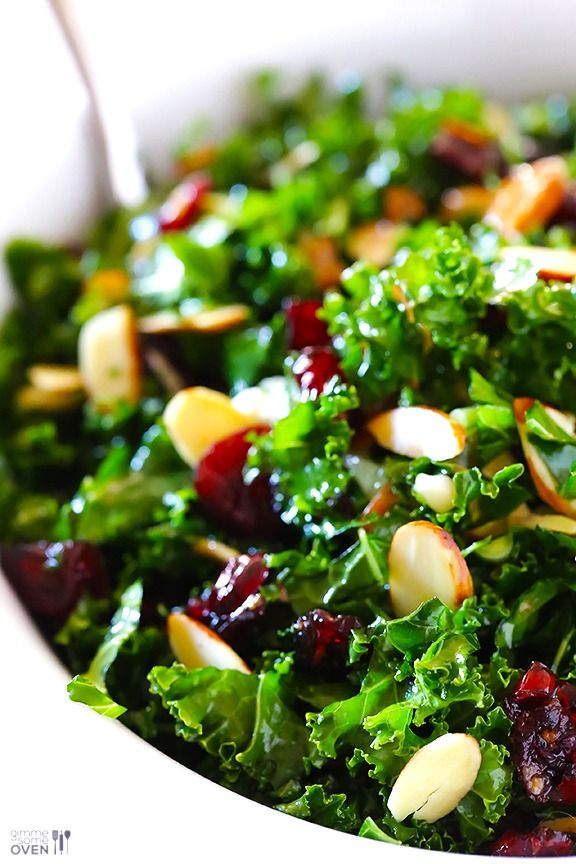Kale Salad with Warm Cranberry Vinaigrette -- simple, healthy, and so tasty. | gimmesomeoven.com #vegan #glutenfree