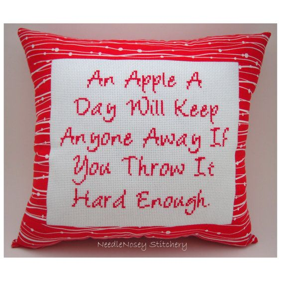 Funny Cross Stitch Pillow, Cross Stitch Quote, Red Pillow, An Apple A Day Quote
