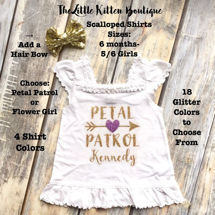 Check out our new Flower Girl shirts and dresses....Several new styles and colors to choose from. Great for Wedding Day, Wedding Announcements, Rehearsal a Dinner or asking your Flower Girl to be in your wedding.