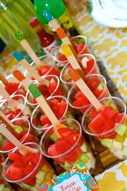 Mexican fruit cups with watermelon, mango, jicama, and cucumber (add ...