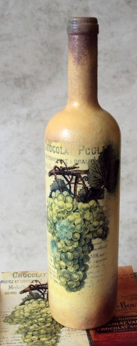 Paint and decoupage bottle