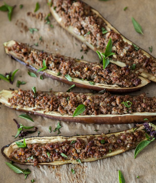 Stuffed Miso Eggplant - this has ground beef but I would replace with ...