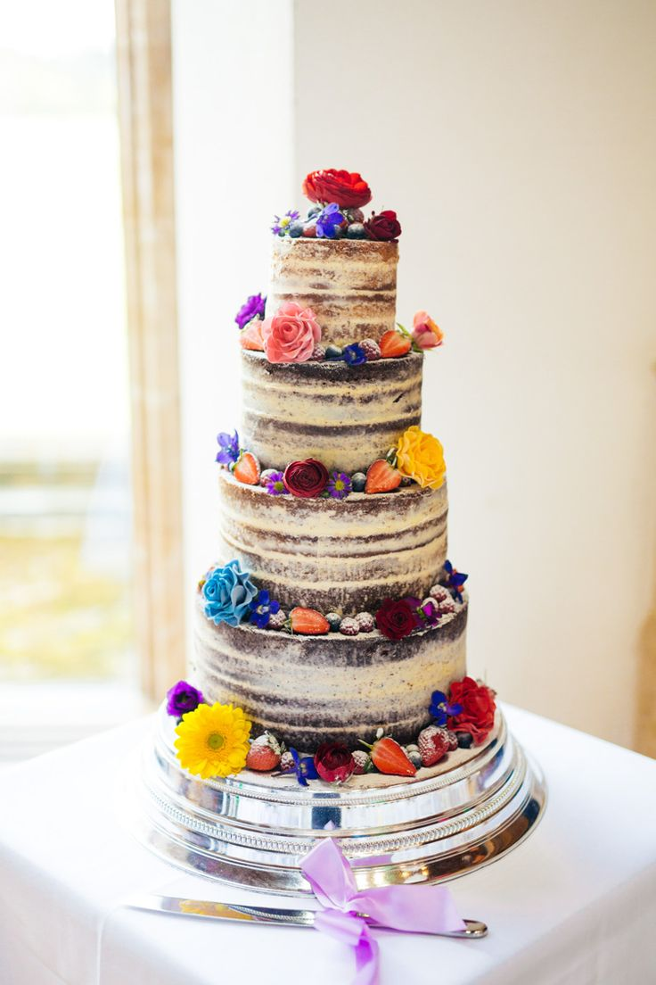 Naked Cake Layer Sponge Icing Flowers Multicoloured Fun Creative Wedding http://www.catlaneweddings.com/