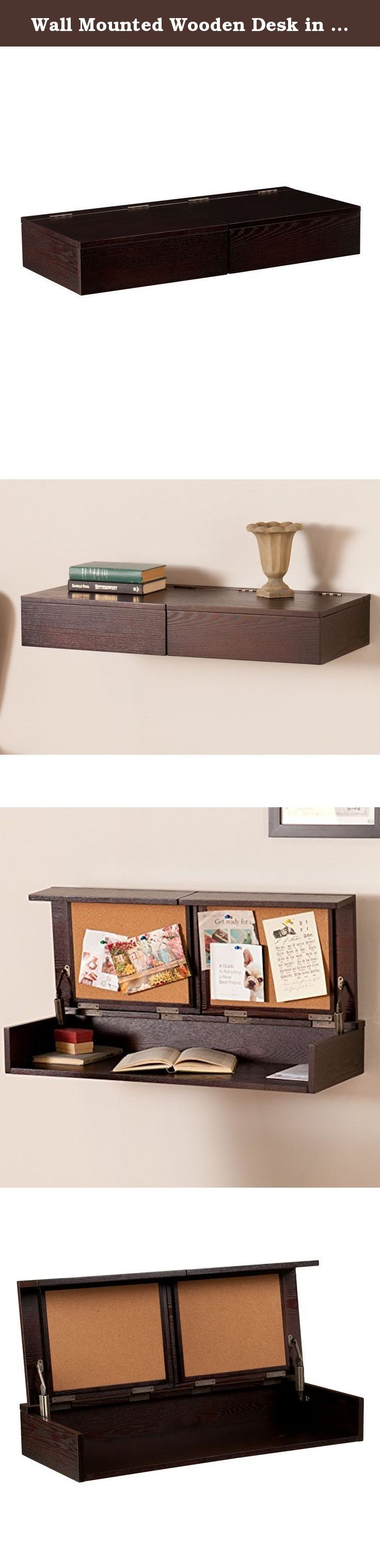 Wall Mounted Wooden Desk in Espresso Finish 20 Pounds Weight Capacity Transitional Style Dimensions 17.5'' H x 32'' W x 14'' D. This double duty wall mount desk and shelf tucks away clutter with a split-top that lifts independently, revealing a broad workspace for tidying office accessories or small electronics. Two corkboards pin up to-do lists to keep you on task and the transitional design blends well with any decor. Hang this custom height home office to shelve chaos or keep it closed...