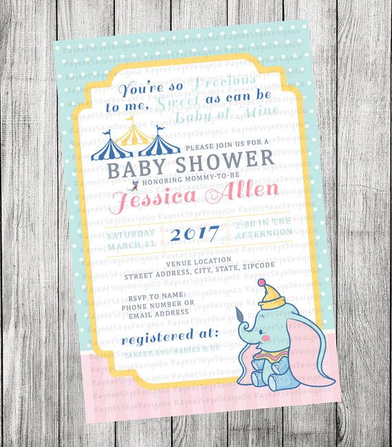 dumbo baby shower invitation dumbo baby shower baby shower invitations