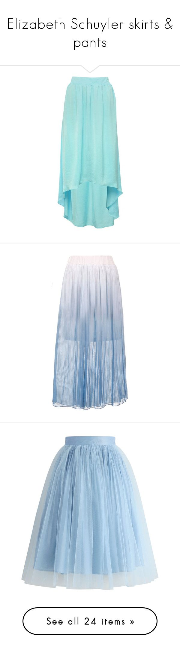 """Elizabeth Schuyler skirts & pants"" by silverbellatrix ❤ liked on Polyvore featuring skirts, bottoms, saias, long skirts, bright mint, hi lo skirt, long evening skirts, long high low skirt, high low skirt and long blue skirt"