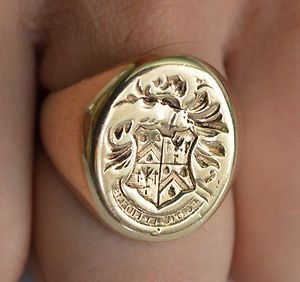 Mens Vintage Antique 14K Yellow Gold Crest, Coat of Arms Ring | eBay