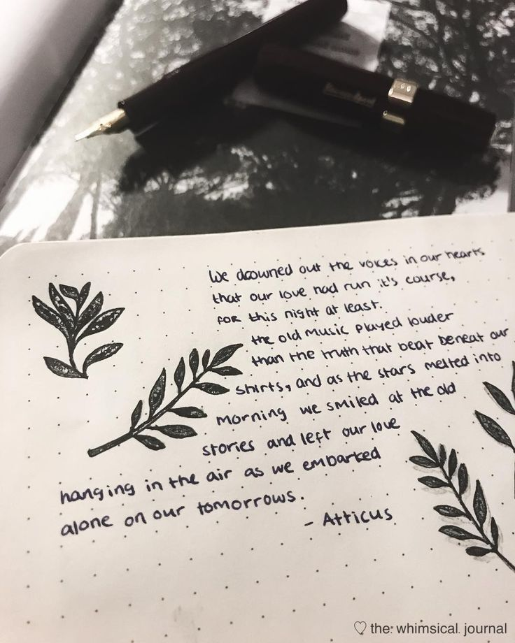 Bullet journal poetry quote, plant drawings. | @the.whimsical.journal