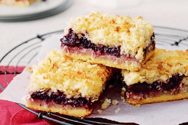 Bake a batch of cherry coconut slice for a delicious treat the whole family can enjoy.