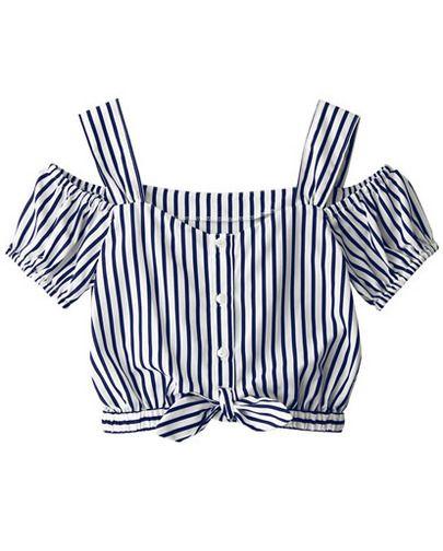 Blue Strap Puff Sleeve Vertical Stripe Blouse