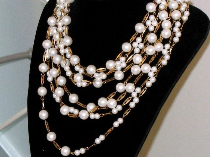 STUNNING VINTAGE VENDOME NECKLACE WATERFALL GLASS PEARL 8 STRANDS GOLD PLATED #Vendome #WaterfallBibMultiStrandPearls