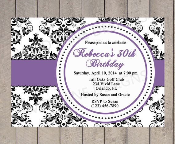 15 best Part invites images – Damask Birthday Invitations
