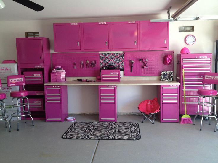 WOAHHHHHHH! pink toolbox, pink tools, pink garage, the original pink box