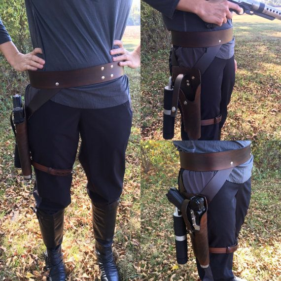 *Shop on Vacation: In preparing for the Comic and Fantasy Comic Convention in Memphis I will be putting my shop on Vaca from November 1st-November 20th. Please keep this in mind with any purchases or communications. Thanks!!!    This is a replica of the gun belt Jyn Erso wears in Rogue One. Belt and holster are 100% leather, hand dyed and stitched. This will fit Jyns custom blaster and will include a hook to hang her battle Baton. You DO NOT get the gun or Baton replica in this purchase. You…