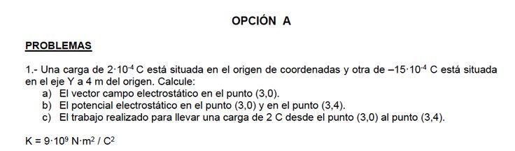 Ejercicios de Electromagnetismo propuestos en el examen PAU de Canarias de JUNIO de 2015, opción A.