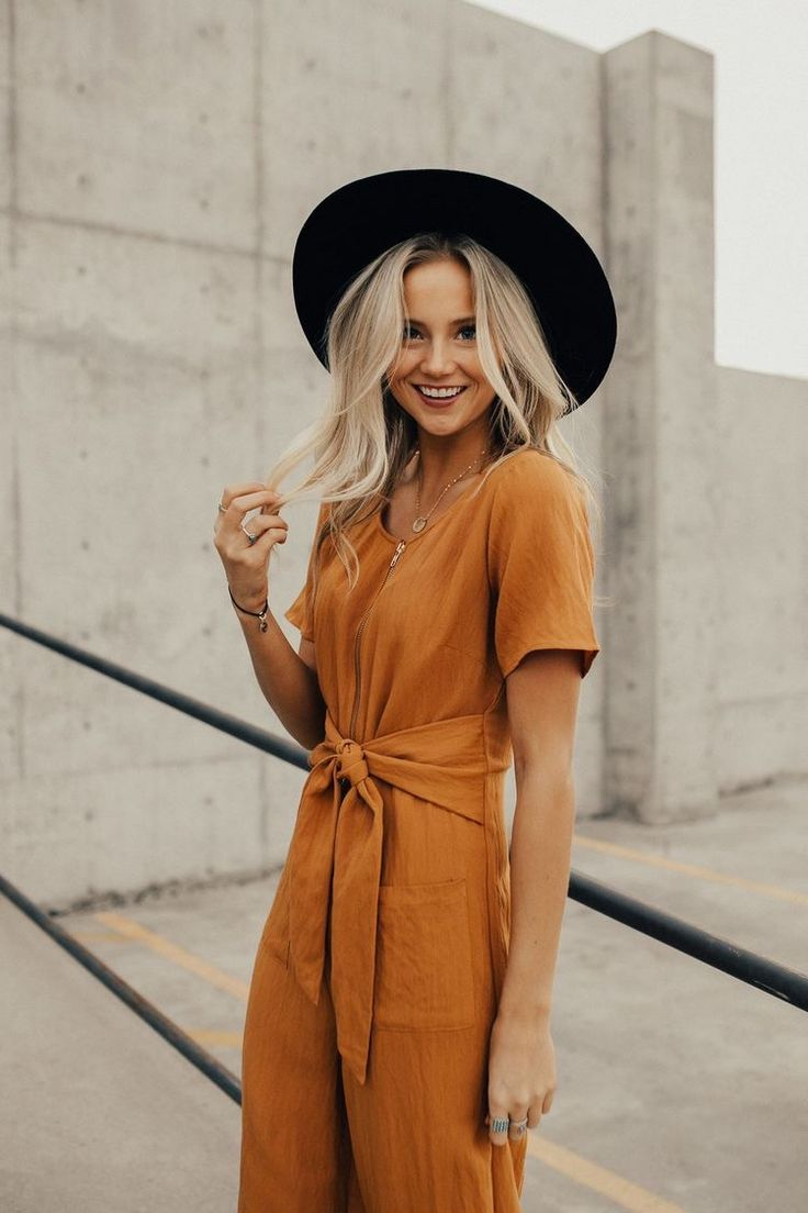 jumpsuit | fall outfits | hipster hats | short sleeve | orange | blonde waves | platinum