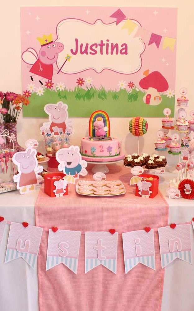 Peppa Pig Birthday Party dessert table!  See more party planning ideas at CatchMyParty.com!