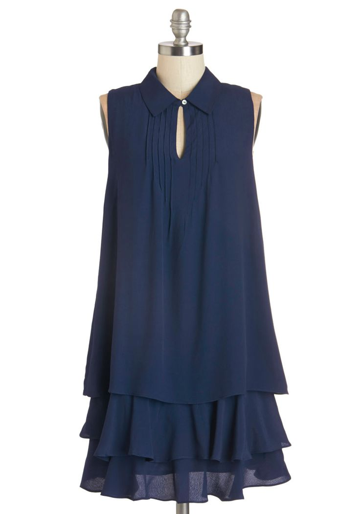 Cascade in the Shade Dress. From the park bench on which you read, the tiered hem of this navy-blue dress mimics the fountains flow. #blue #modcloth