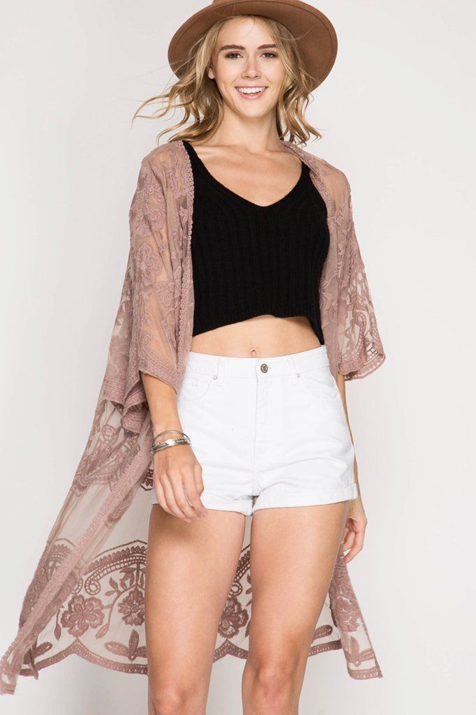 553853dafa 3 4 sleeve floral lace kimono duster Make it your favorite lace kimono!  Available color  Mocha - 70% Cotton - 30% Polyester - 100% Polyester Woven  Cardigan