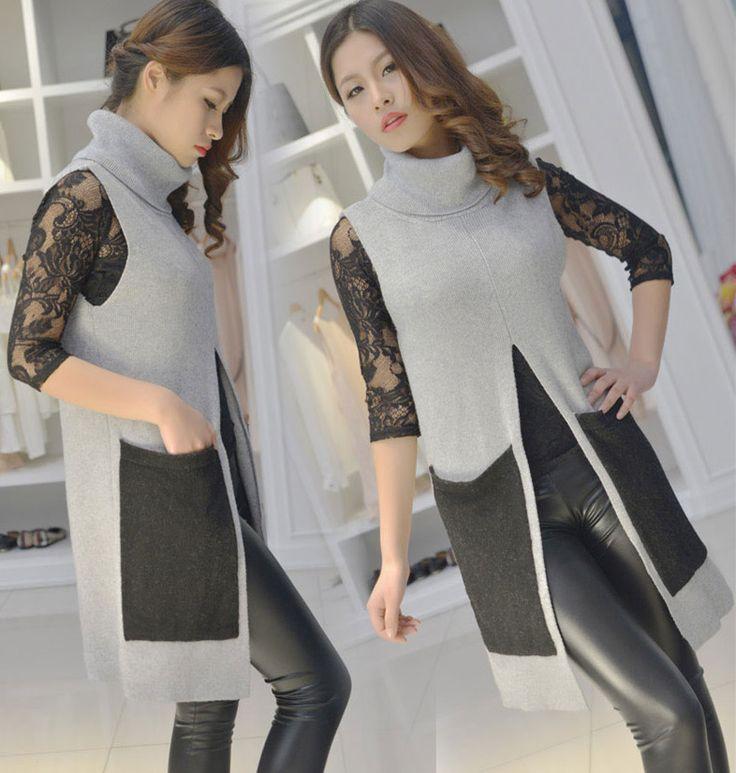 В кашемир свитер жилет шерсть воротник-хомут длинная щели в женщины в длинная без рукавов свитер пальто хан ван(China (Mainland))